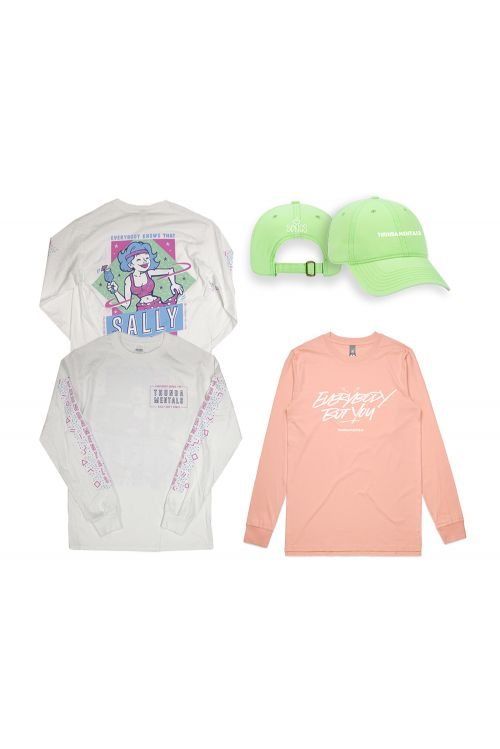 Sally white long sleeve + pink Everybody but You long sleeve + green cap  by Thundamentals