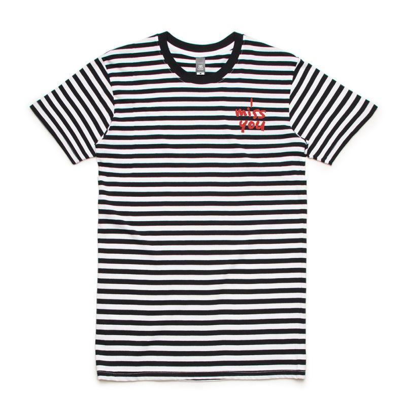 I Miss You Black/White Striped Tshirt w/embroidered pocket logo