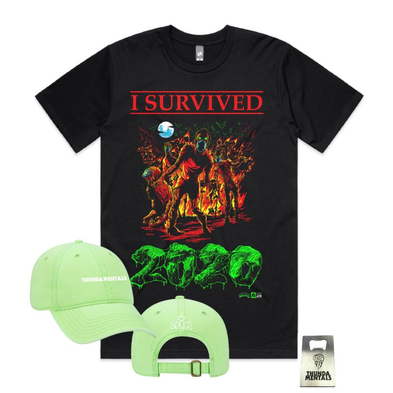 I SURVIVED 2020 PACK + ( Tee, Green Cap & Bottle Opener)