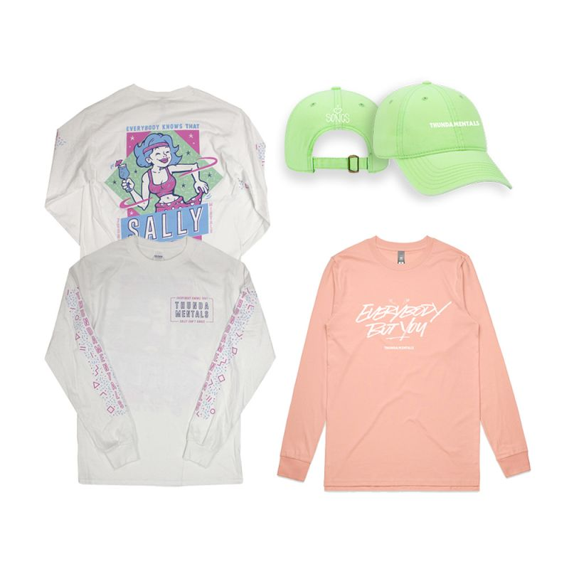 Sally white long sleeve + pink Everybody but You long sleeve + green cap