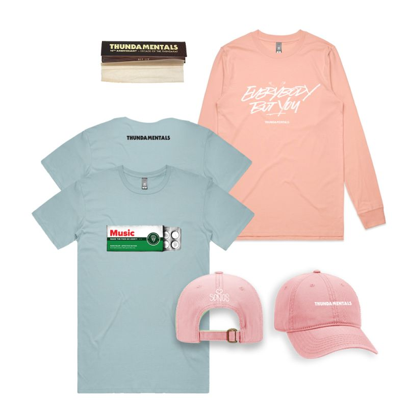 Music Makes the Pain Go Away blue t-shirt + pink Everybody but You long sleeve + pink cap + papers